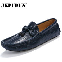 JKPUDUN Crocodile Leather Men Loafers Casual Moccasins Designer Italian Shoes Men Espadrilles Luxury Brand Breathable Boat Shoes(China)
