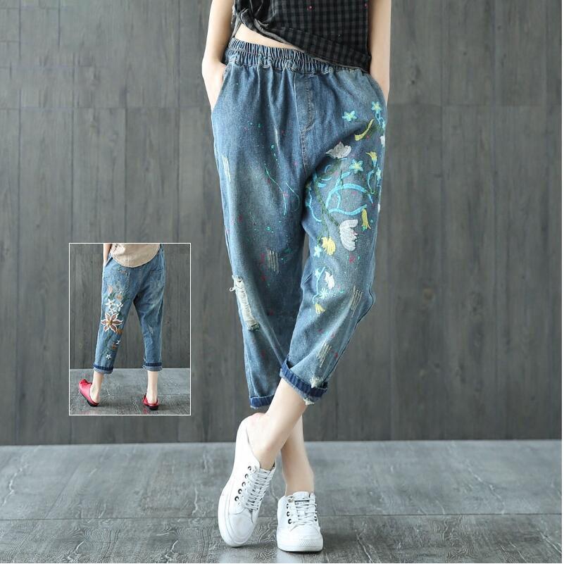 2017 Vintage Embroidered Jeans For Women Elastic Waist Jeans Female Harem Denim Pants Casual Ripped Hole Pantalon Femme F330Îäåæäà è àêñåññóàðû<br><br>
