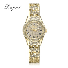 Lvpai Brand Quartz Steel Watch Women Luxury Dress Fashion Wristwatch Crystal Gold Silver Ladies Bracelet Women Watch Clock(China)