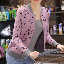 2017 Autumn And Winter Knitting Cardigan Sweater Women 4 Colors Long Sleeve Baseball Jacket Sweaters Cardigan Women Plus Size