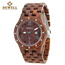 BEWELL Wood Watch Men Wood Auto Date Wristwatch mens watches top brand luxury horloges mannen with Paper Box relogio 109A