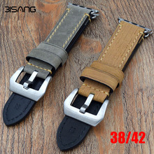 Gray-green / yellow 38mm 42mm apple watch band, Special Design leather watch strap, For Iwatch Apple watch, Free Shiping(China)