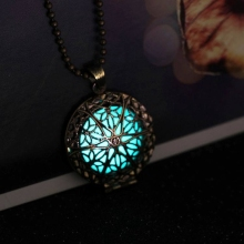 Steampunk Antique Bronze Magic Round Locket Glow In The Dark Pendant Necklace Glowing Luminous Vintage Hollow Necklace Gift(China)