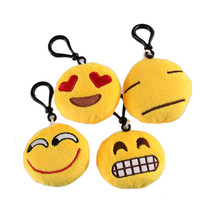10 Styles Fashion Cute Emoji smiley Face Ball Key Chains Cell Phone Handbag Charm Keychain Pendant 55mm Diameter(China)