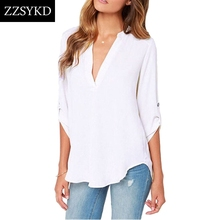 Buy ZZSYKD Chiffon Shirt Office Women Blouse Elegant Long Sleeve Summer Womens Tops Blouses Fashion Ladies Clothing Plus Size for $4.74 in AliExpress store