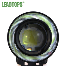 "LEADTOPS 2pcs High Power 2.5/3.0/3.5"" Projector Universal LED Fog Light w/ Blue/Green/Red/White COB Halo Angel Eye Rings BE"