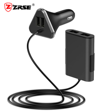 ZRSE 4 Port USB Car Charger With USB HUB Backseat Charging Travel Adapter for iPhone 6 7 Xiaomi Oneplus 5 Mobile Phone Charger(China)