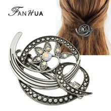 FANHUA Vintage Hair Jewelry Antique Silver Color with Rhinestone Flower Hairgrips Hairwear Hair Accessories for Women