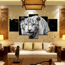 5 Panels Modern Animal Tiger Oil Paintings Wall Decorations for Living Room Oil Paintings(China)