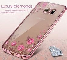 hot Flower Diamonds Case Samsung Galaxy J3 J5 J7 J2 Grand Prime J1 A3 A5 2016 2017 S4 S5 S6 S7 edge S8 PLUS Soft Cover