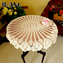 Cotton Lace Cup Mat Placemat 70/ 80/90 CM RD Shabby Chic 3 Sizes Vintage Crocheted Tablecloth Handmade Crochet Coasters(China)