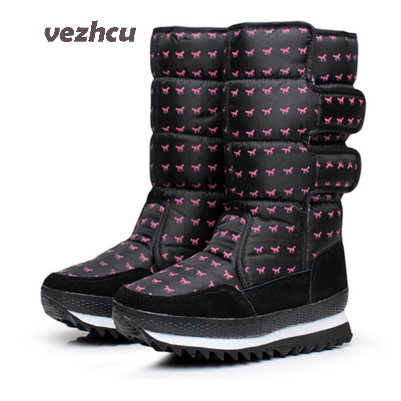 VZEHCU Winter Women Boots 2017 Fashion Women Flats With Plush Warm Mid-Calf Snow Boots Casual Women Boots Large Size 35-41 8e19<br>