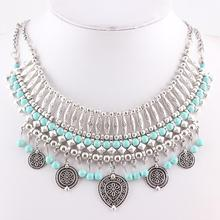 New Style Jewelry  Bohemia Turquoise Beaded Necklace  Collar Necklace Gypsy Tassel Special Gift For Women Necklace FEAL N311