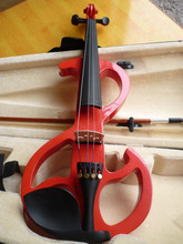 High quality red color electric violin 4/4 violin handcraft violino Musical Instruments violin Brazil Wood bow(China)