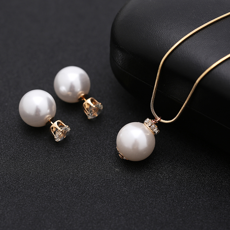 TDQUEEN Simulated Pearl Jewelry Sets Gold Color Big Round Pearl Wedding Necklace and Earrings Sets Party Accessories for Women (10)