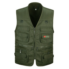 Spring and autumn male vest casual multi-pocket quinquagenarian 100% cotton mesh vest waistcoat Outerwear gilet workwear(China)