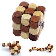 3D Wooden Puzzle Novelty Toys Magic Cube Educational Brain Teaser IQ Mind Game For Children Adult Snake Shape