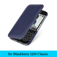 "Luxury Brand 100% Genuine Leather Case Flip Folio Phone Cover Bag Shell For Blackberry Classic Q20 3.5"" Case Free Shipping"
