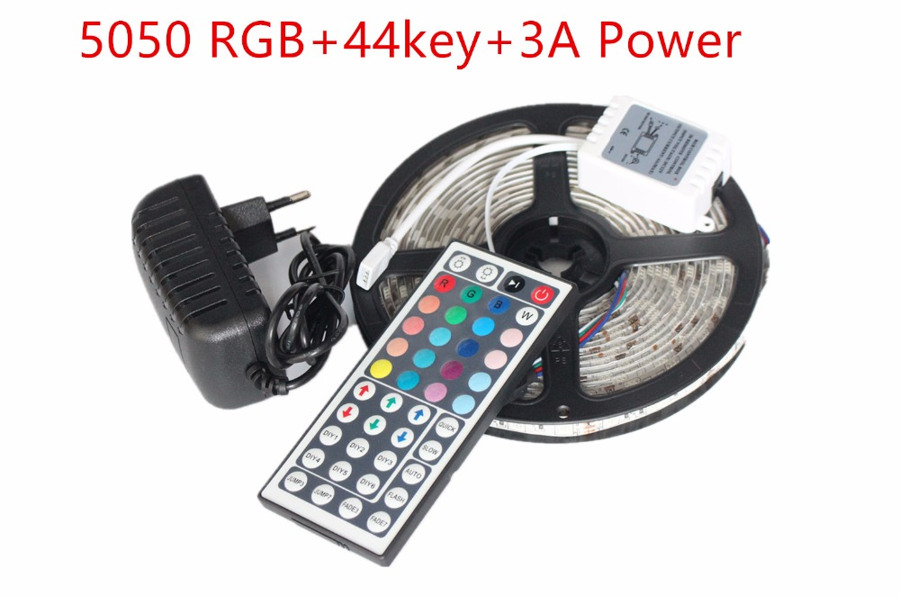 5050 RGB LED Strip Non-Waterproof / Waterproof 5M 300 Led Strip Light Fita Led String + 44 Key IR Remote + DC 12V 3A Power Kit<br><br>Aliexpress