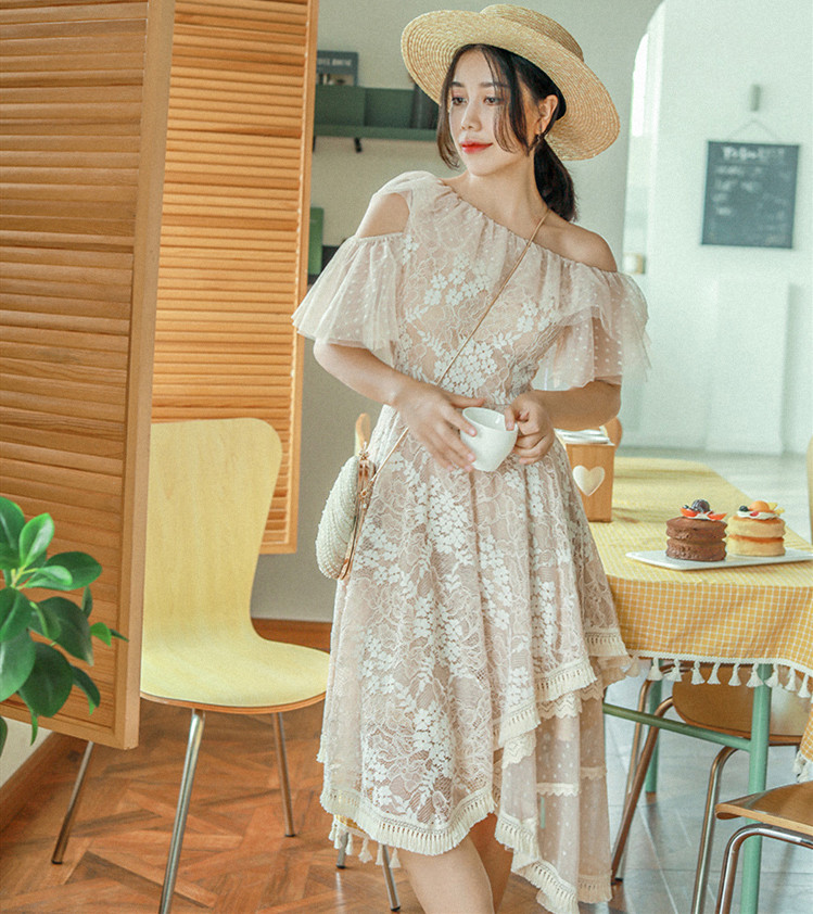 WomenSummer Elegant Casual Short Lace Dress Ladies Vintage Sweet Fringe Polka Dot Mesh Sleeve Lace Irregular Dress vestido curto
