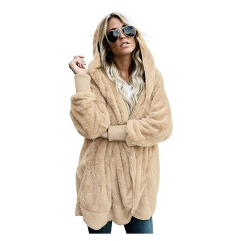 c703d28be New Year Spring Faux Fur Teddy Coat Bear Jacket Women Fashion Cardigan Open  Stitch Hooded Coat Female Long Sleeve Fuzzy Jacket | KDExpress