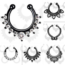 Trendy crystal Fake septum Piercing nose ring Black Hoop nose For Women faux body clip Rings clicker non Body Jewelry wholesale