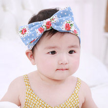 Big Bows Print Soft Hairbands Kids Rabbit Ears Hair Band for Girls Newborns Headbands Hair Accessories Turban(China)