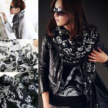Skull Style Scarves Hot Women Girl Silk Chiffon Scarf Autumn Winter Warm Scarves For Lady B2