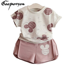 2017 New Brand Girls Mickey Sport Suit Cartoon Clothing Set Ripped White Shirt With Shorts For Kids And Children Clothing(China)