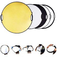 Lightdow 43 Inch 110CM 5 in 1 Round Portable Collapsible Multi Disc Light Photographic Lighting Reflector with Handle Bar(China)
