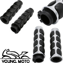 "1Pair 1'' 25mm 7/8"" 22mm Handle Motorcycle Custom Chrome Rubber Hand Grips For Yamaha Suzuki Honda BMW Handlebar Black/Sliver(China)"