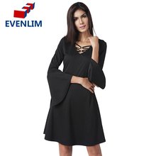 EVENLIM Apparel Women's Fashion Sexy V Neck Flare Sleeve Black Dress Lady long-sleeved Loose Dress For Women Evening Party LZ013(China)