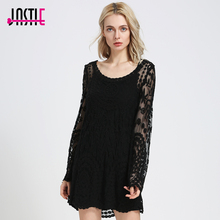 Jastie Commemorative Bell Sleeve Dress Casual femininos Crochet Floral Lace embroidery dresses Sheer Boho People Women Magenta(China)