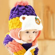 Cute Baby Toddler Girls Boys Winter Warm Cartoon Hat Hooded Scarf Earflap Knitted Infant Cap + Scarf  M2