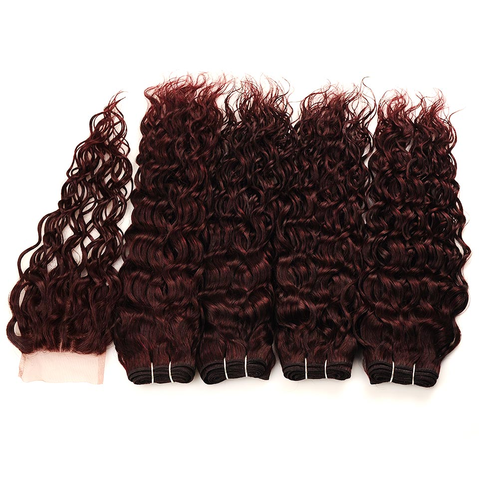 Brazilian Water Wave Hair Burgundy 4 Bundles With Closure Wet Wavy Pinshair Pre-Colored Dark Red Human Hair With Closure NonRemy (80)