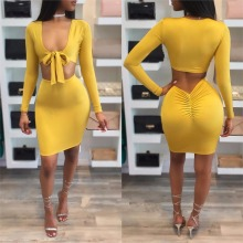 Fashion summer dress 2017 new arrivals yellow long sleeve deep v draped Sunscreen cool sexy club wear 2 piece women dress
