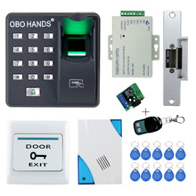 Full kit biometric fingerprint access control X6+electric strike lock+power supply+exit button+door bell+remote control+key card(China)