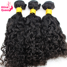 "Atina Queen Hair Products Brazilian Wet and Wavy Human Hair Weave Bundles Natural Color 10""-28"" Remy Hair Weaving Free Ship 1PC(China)"