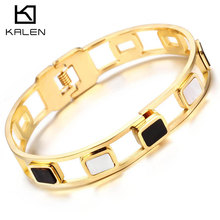 Kalen Trendy Glass & Stainless Steel Turky Gold Color Bangles & Bracelets For Women Silver Color Hinged Wristband For Girls Gift