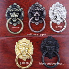 vintage style golden silver black antique brass bronze antique copper lionhead drawer cabinet knobs pulls handle retro furniture