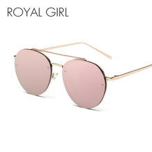 ROYAL GIRL 2017 Brand Designer Women Round Sunglasses Metal Retro Glasses Shiny tinting Lens SS422(China)