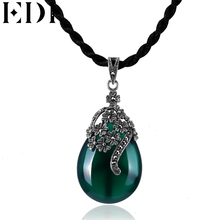 EDI Vintage Green Jade 925 Sterling Silver Necklace Green and Red Chalcedony Necklace Pendant Fashion Style Women Fine Jewelry(China)