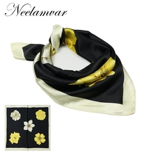women Black  Silk Scarf  Brand Design Satin Square Scarf Women Silk Scarf Handkerchief  Bandana new spring desiger
