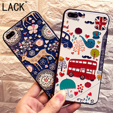 LACK For iphone 7 Case Funny bus car painting Soft relief Phone Cases For iphone 7 6 6S Plus Cute Cartoon Animal Sika deer Capa