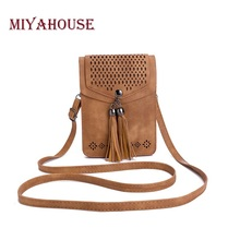 Miyahouse Tassel Phone Bag Fashion Women Mini Shoulder Bags Female Hollow Out Mobile Phone Bag Ladies Small Messenger Bag(China)