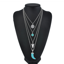 Boho summer style 4 layer Moon Round Arrow Pendant Long Chain Necklace Silver MultiLayer Necklace Women Statement Jewelry