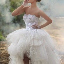 2016 Fashion Short Front Long Back Wedding Dresses With Applique Tulle Lace Bridal Wedding Dress Ball Gowns Custom Made
