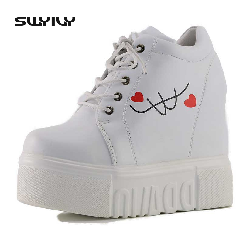 SWYIVY Sneakers Women Leather 2018 Wedge Female Canvas Shoes White Platform Sneakers Spring Autumn Women