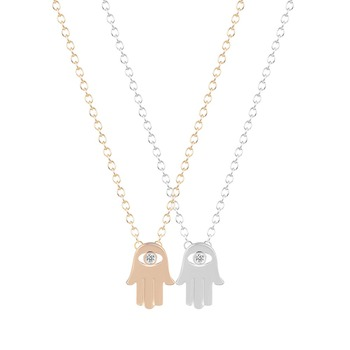 QIMING Hamsa Hand Necklace Collier Simple Hamsa Hand Pendant Necklaces Hamsa Hand Necklace for Women