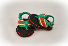 Baby Summer Shoes,Barefoot sandals Baby Bob Marley Flip Flops, Crochet Baby Sandals, MADE TO ORDER Size:9cm,10cm,11cm(China)